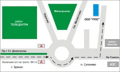 Схема проезда.  241520 Брянский район, с.Супонево, ул.Комсомольская, 112.